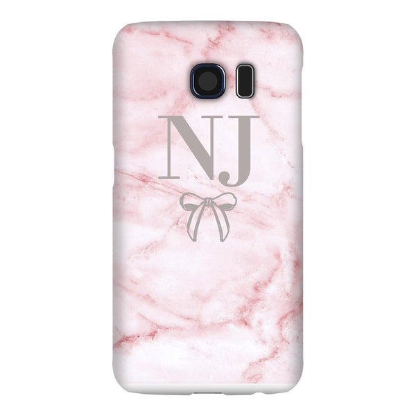 Personalised Cotton Candy Bow Marble Initials Samsung Galaxy S6 Case