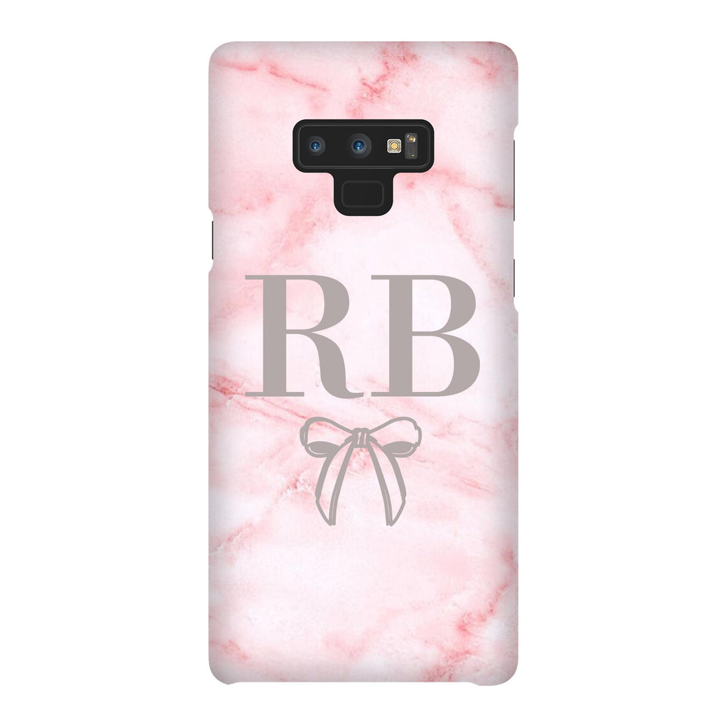 Personalised Cotton Candy Bow Marble Initials Samsung Galaxy Note 9 Case