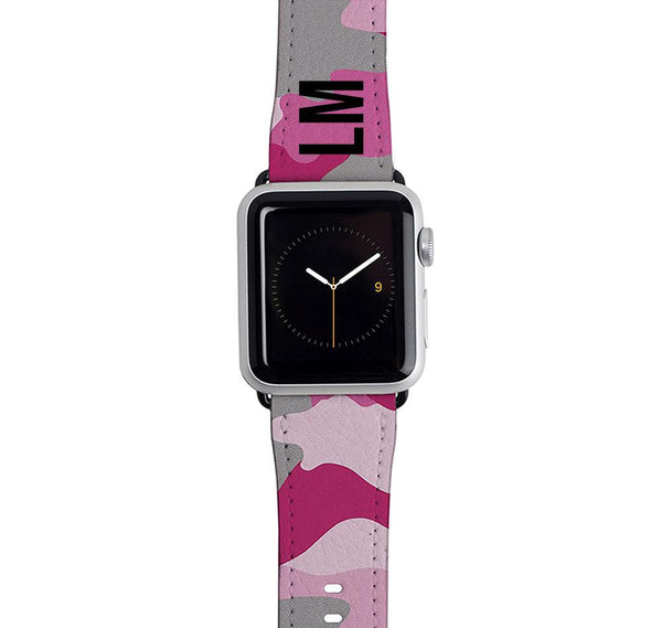 Personalised Pink Camouflage Apple Watch Strap