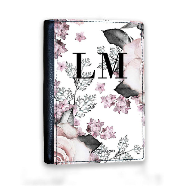 Personalised Pink Floral Rose Initials Passport Cover