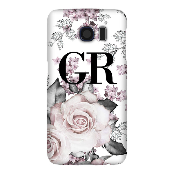 Personalised Pink Floral Rose Initials Samsung Galaxy S6 Case
