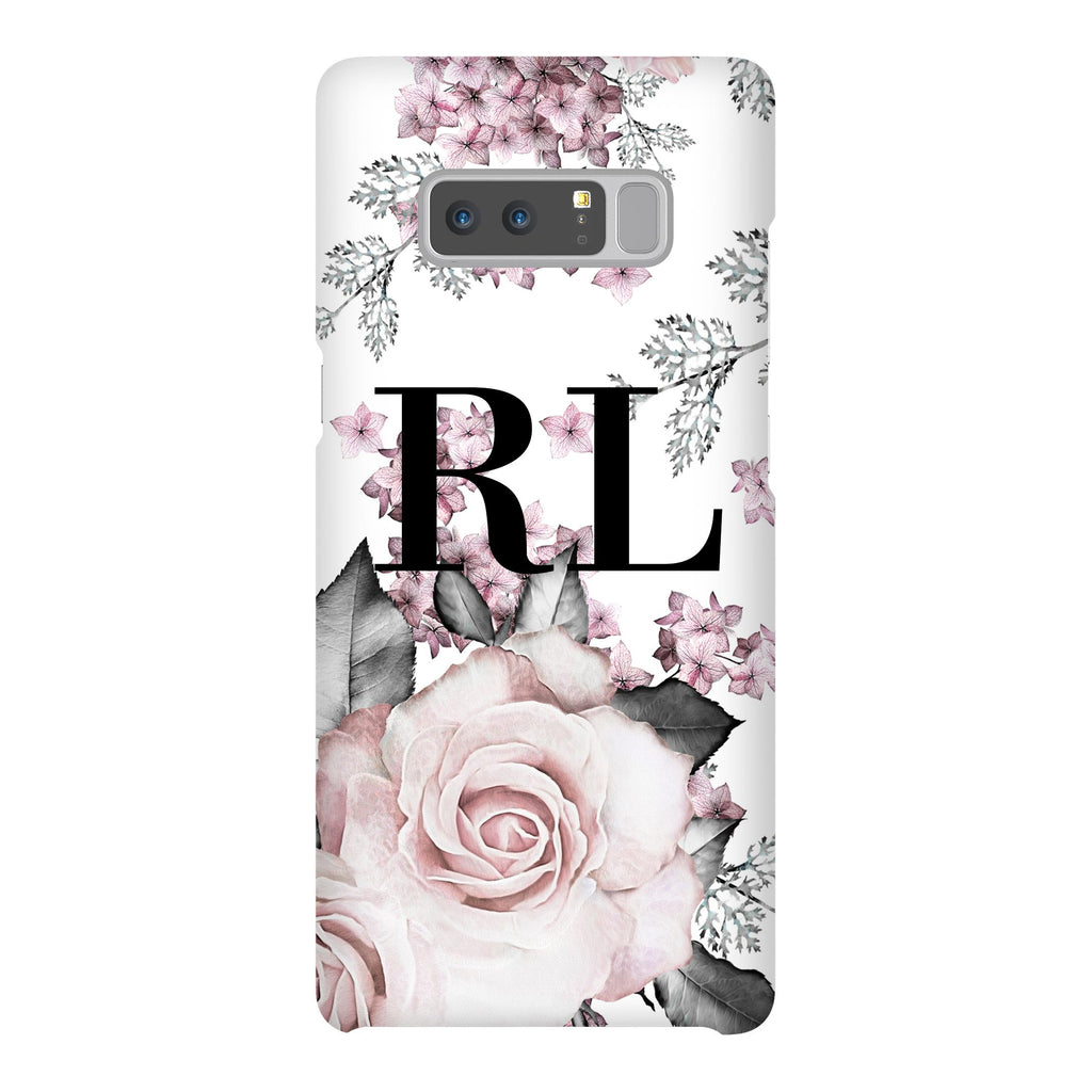 Personalised Pink Floral Rose Initials Samsung Galaxy Note 8 Case