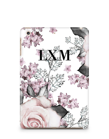 Personalised Pink Floral Rose Initials iPad Case