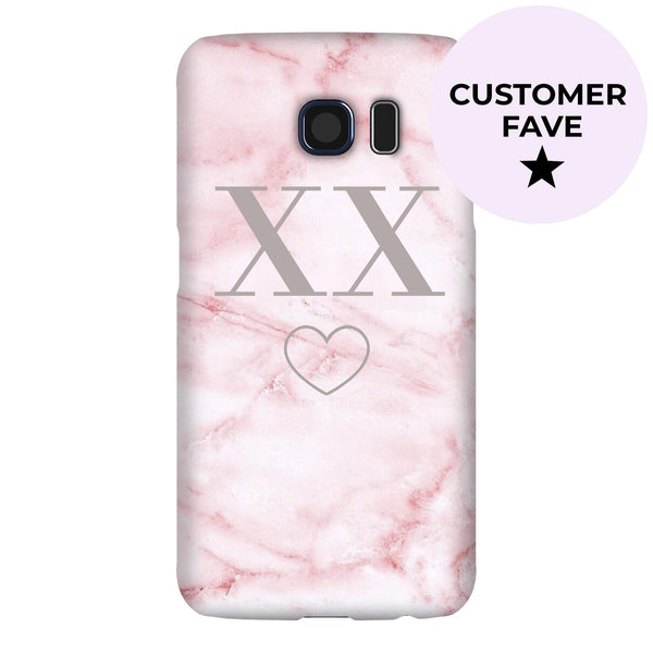 Personalised Cotton Candy Heart Marble Initials Samsung Galaxy S6 Case