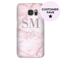 Personalised Cotton Candy Heart Marble Initials Samsung Galaxy S7 Edge Case