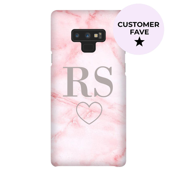 Personalised Cotton Candy Heart Marble Initials Samsung Galaxy Note 9 Case