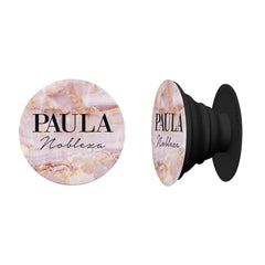 Personalised Natural Pink Marble Name Phone Grip