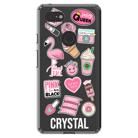 Personalised Pink Sticker Google Pixel 3 XL Clear Case