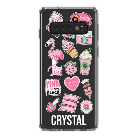Personalised Pink Sticker Samsung Galaxy S10 Clear Case