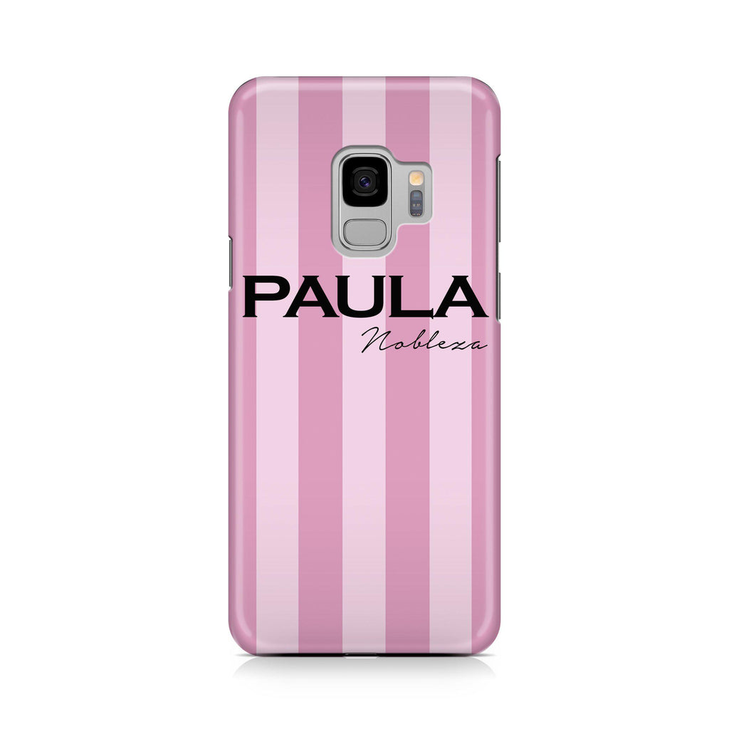 Personalised Pink Stripe Samsung Galaxy S9 Case