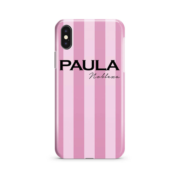 Personalised Pink Stripe iPhone XS Case