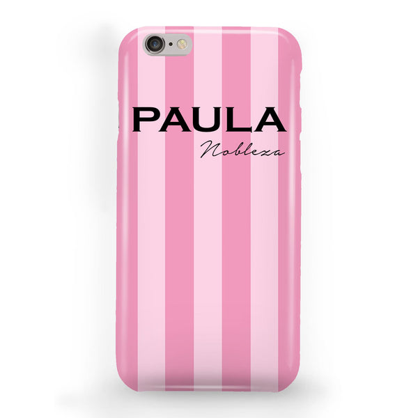 Personalised Pink Stripe iPhone 6 Plus/6s Plus Case