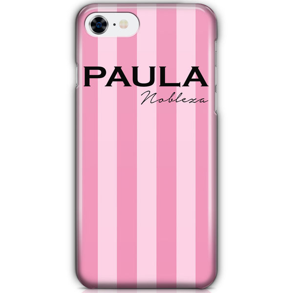 Personalised Pink Stripe iPhone 7 Case