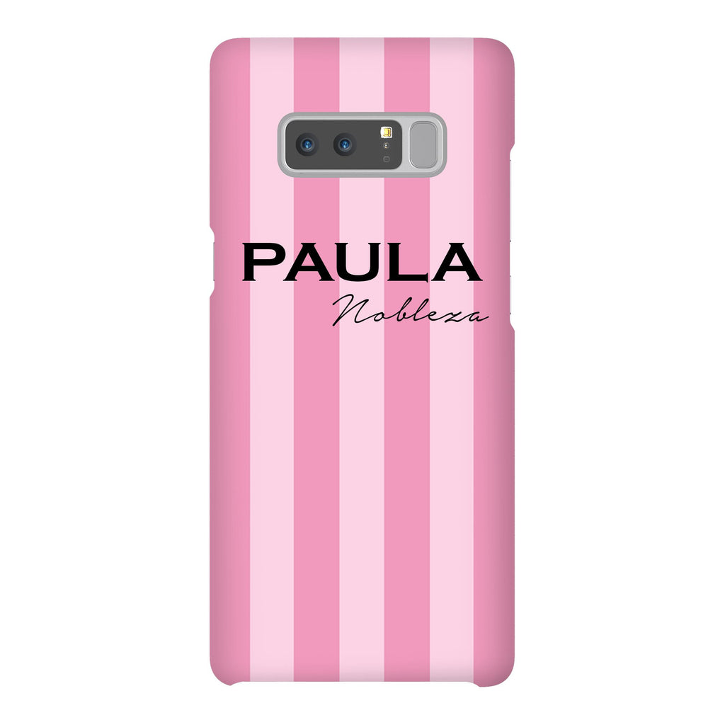 Personalised Pink Stripe Samsung Galaxy Note 8 Case