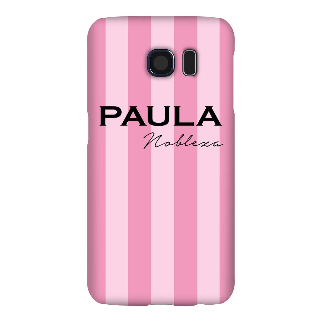 Personalised Pink Stripe Samsung Galaxy S6 Edge Case