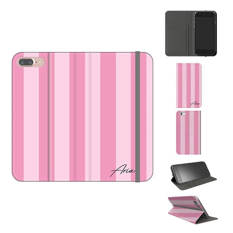 Personalised Pink Stripe iPhone 8 Plus Case