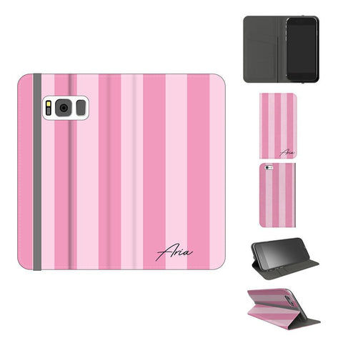 Personalised Pink Stripe Samsung Galaxy S8 Plus Case
