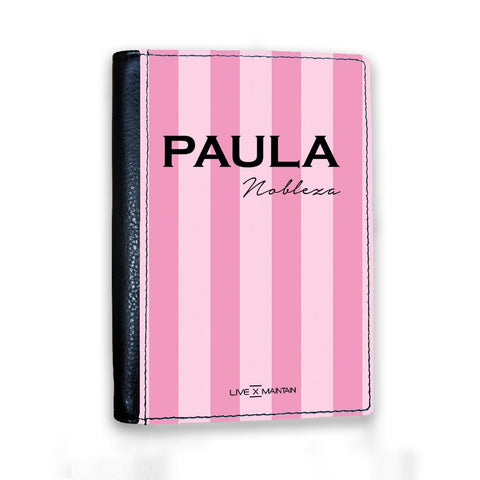 Personalised Pink Stripes Name Passport Cover