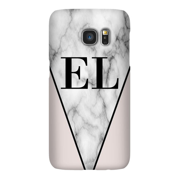 Personalised Pink x Grey Marble Contrast Initials Samsung Galaxy S7 Edge Case
