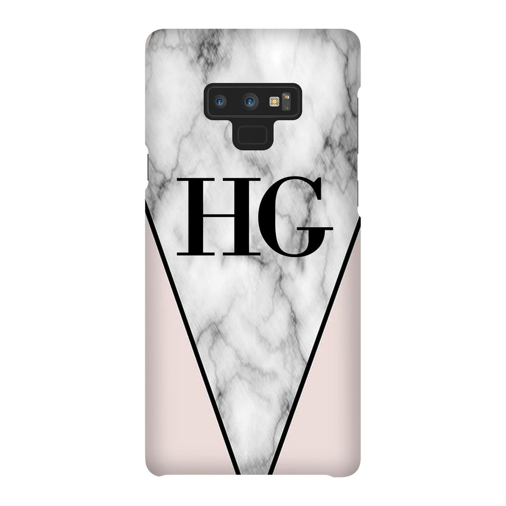 Personalised Pink x Grey Marble Contrast Initials Samsung Galaxy Note 9 Case