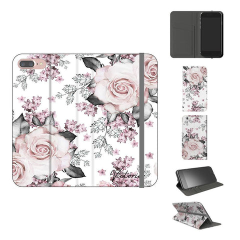 Personalised Pink Floral Rose Initials iPhone 8 Plus Case