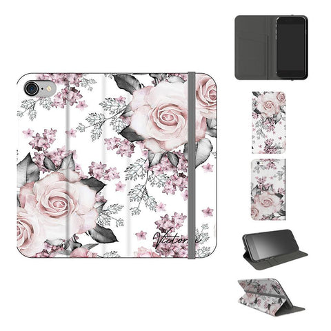 Personalised Pink Floral Rose Initials iPhone 7 Case