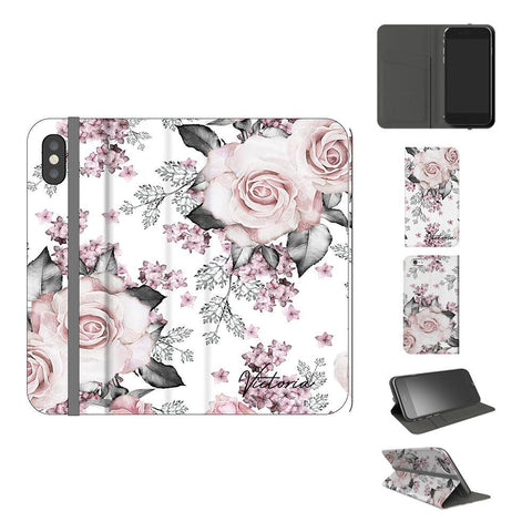 Personalised Pink Floral Rose iPhone X Case