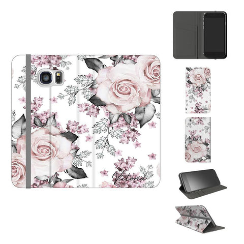 Personalised Pink Floral Rose Initials Samsung Galaxy S7 Case