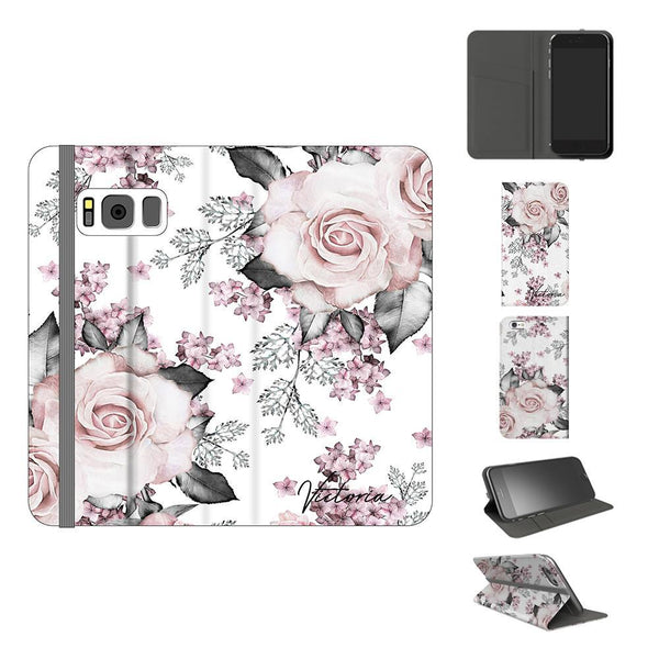 Personalised Pink Floral Rose Initials Samsung Galaxy S8 Case