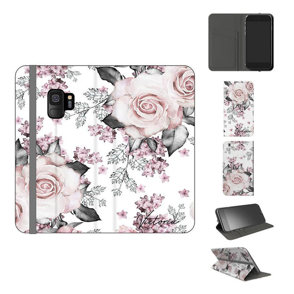 Personalised Pink Floral Rose Initials Samsung Galaxy S9 Case