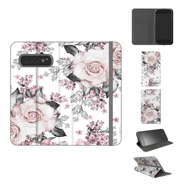 Personalised Pink Floral Rose Initials Samsung Galaxy S10 Case
