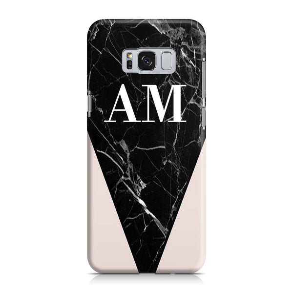 Personalised Pink x Black Marble Contrast Samsung Galaxy S8 Case
