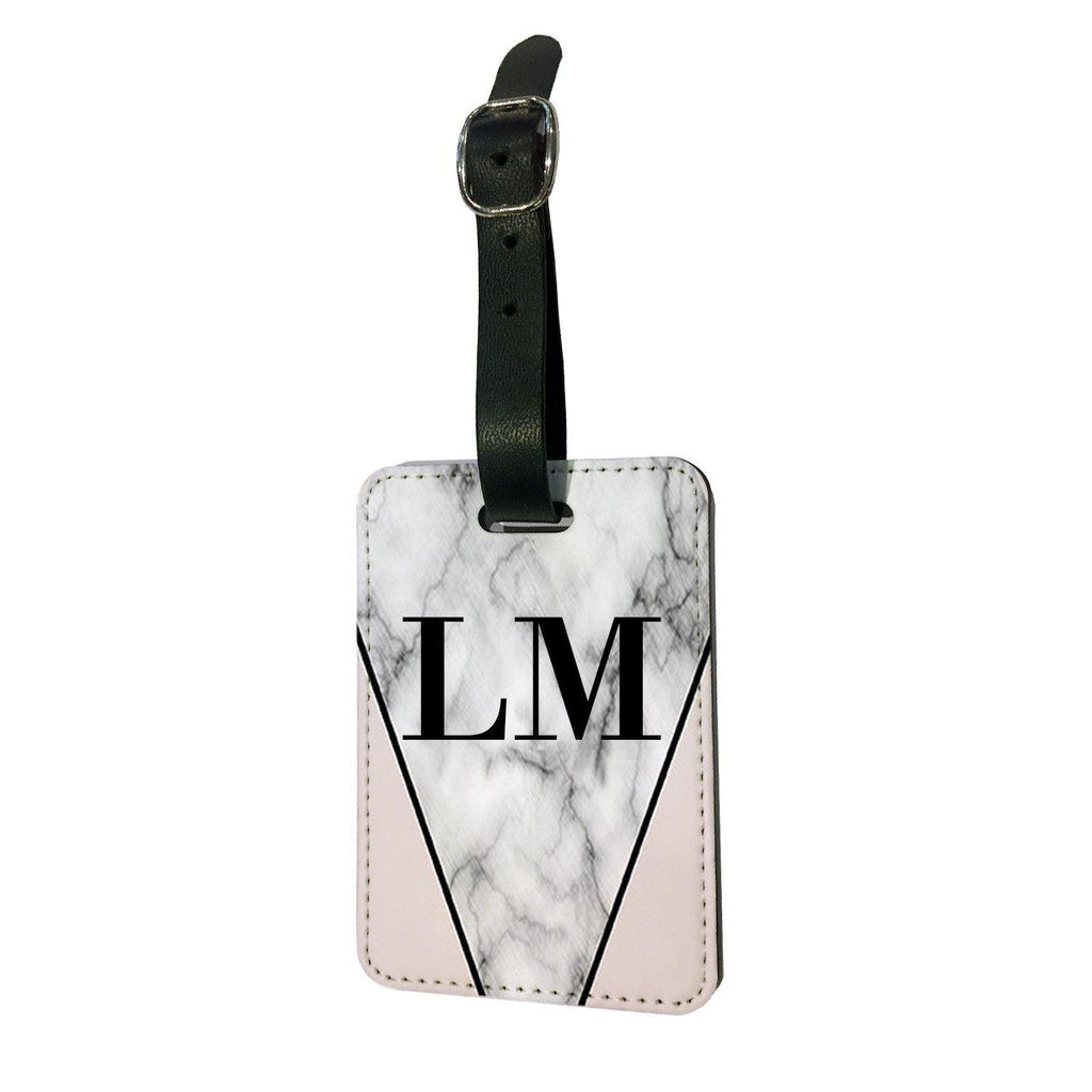 Personalised Pink x Grey Marble Initials Luggage Tag