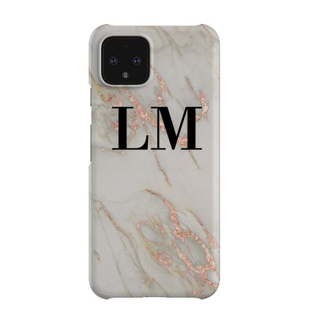 Personalised Rose Gold Marble Initials Google Pixel 4XL Case