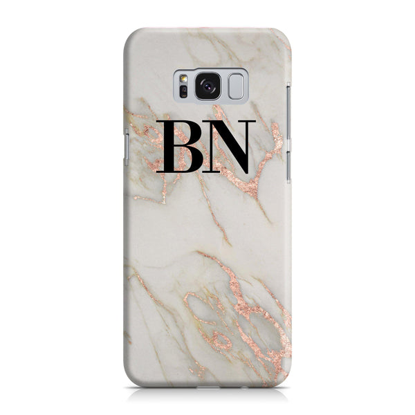 Personalised Rose Gold Marble Initials Samsung Galaxy S8 Case