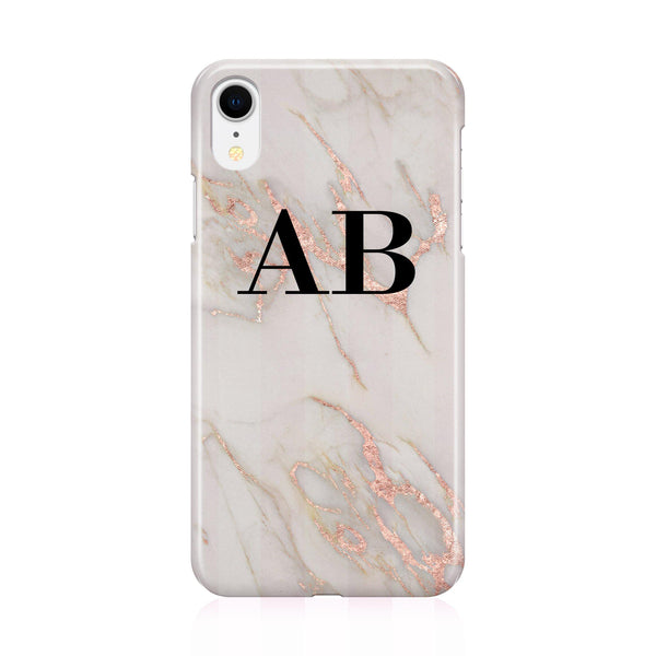 Personalised Rose Gold Marble Initials iPhone XR Case