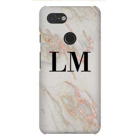 Personalised Rose Gold Marble Initials Google Pixel 3 Case