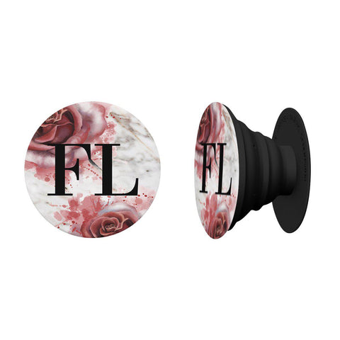 Personalised Floral Rose x White Marble Initials PopSocket