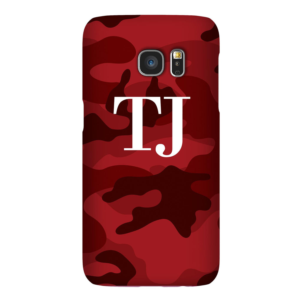 Personalised Red Camouflage Initials Samsung Galaxy S7 Edge Case