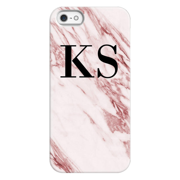 Personalised Rosa Marble Initials iPhone 5/5s/SE (2016) Case