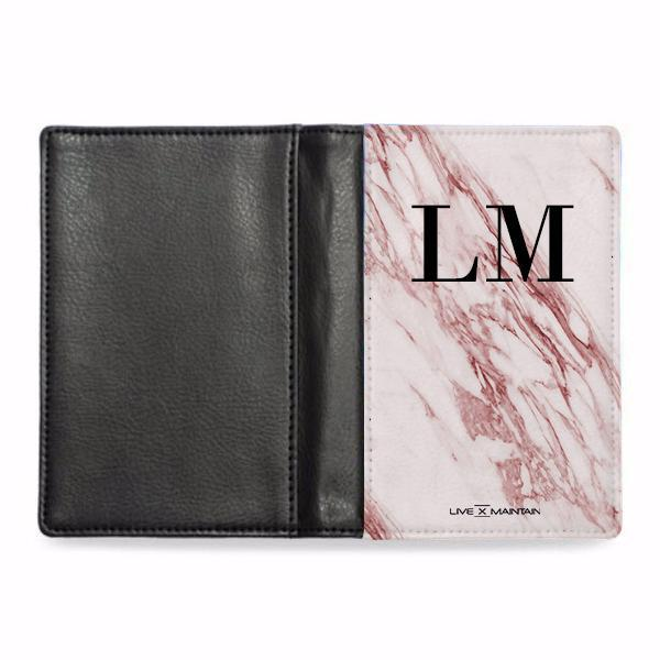 Personalised Rosa Marble Initials Passport Cover