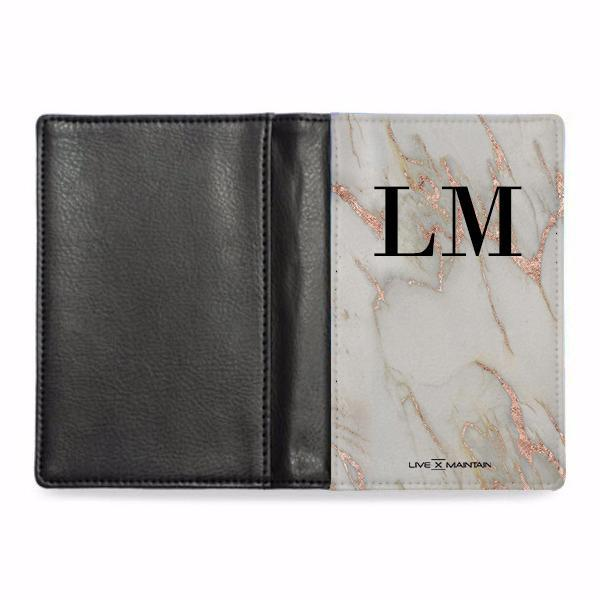 Personalised  Rose Gold Marble Initials Passport Cover