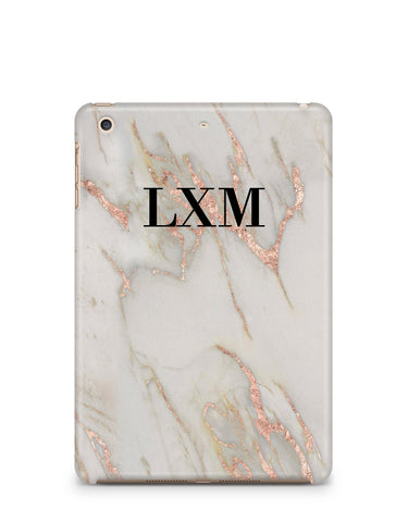 Personalised Rose Gold Marble Initials iPad Case