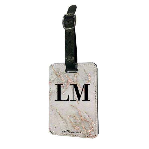 Personalised Rose Gold Marble Initials Luggage Tag