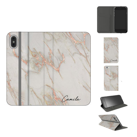 Personalised Rose Gold Marble Initials iPhone XS Case