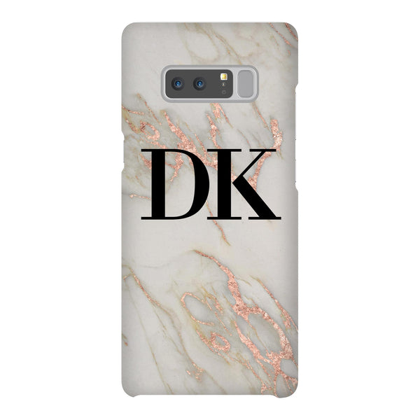 Personalised Rose Gold Marble Initials Samsung Galaxy Note 8 Case