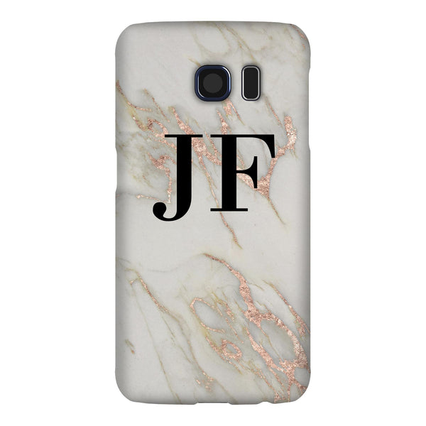 Personalised Rose Gold Marble Initials Samsung Galaxy S6 Case