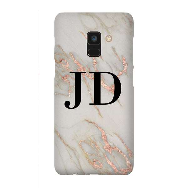 Personalised Rose Gold Marble Initials Samsung Galaxy A8 Case
