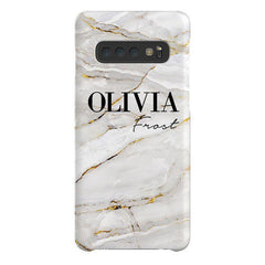 Personalised Cream Marble Name Samsung Galaxy S10 Plus Case