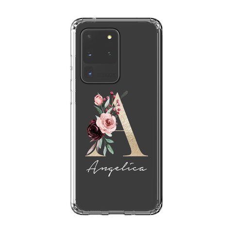 Personalised Floral Initial Name Samsung Galaxy S20 Ultra Clear Case